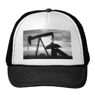 Oil Well Pump Jack Black and White Trucker Hat