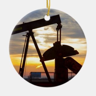 Oil Well Pump Jack Sunrise Ceramic Ornament