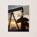 Oil Well Pump Jack Sunrise Jigsaw Puzzles