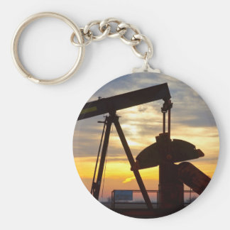 Oil Well Pump Jack Sunrise Keychain