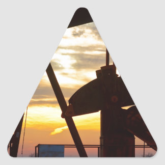 Oil Well Pump Jack Sunrise Triangle Stickers