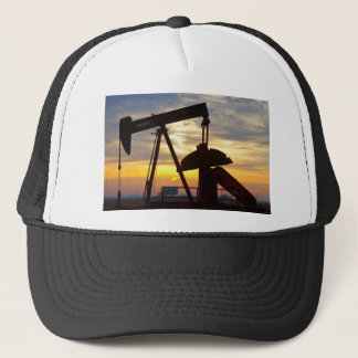 Oil Well Pump Jack Sunrise Trucker Hat