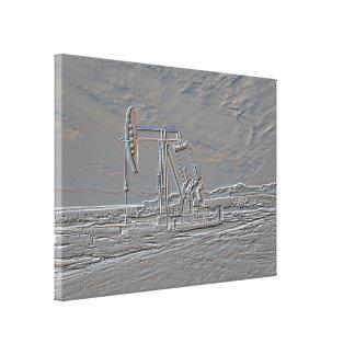 Oil Well Pumping (Pump Jack) Unit (Embossed Look) Canvas Print