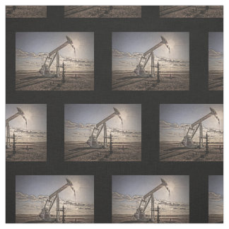 Oil Well Pumping Unit at Sunset Fabric