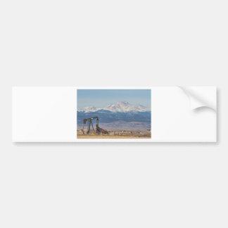 Oil Well Pumpjack And Snow Dusted Longs Peak Bumper Sticker