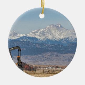 Oil Well Pumpjack And Snow Dusted Longs Peak Ceramic Ornament