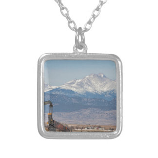 Oil Well Pumpjack And Snow Dusted Longs Peak Silver Plated Necklace