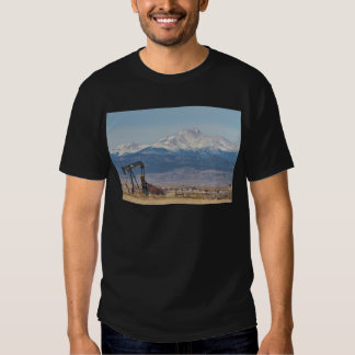 Oil Well Pumpjack And Snow Dusted Longs Peak T-shirt