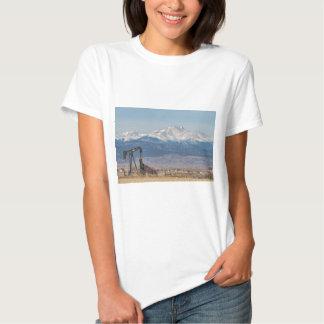 Oil Well Pumpjack And Snow Dusted Longs Peak Tee Shirt