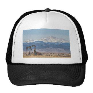 Oil Well Pumpjack And Snow Dusted Longs Peak Trucker Hat
