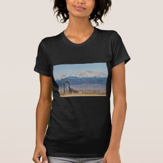 Oil Well Pumpjack And Snow Dusted Longs Peak T Shirt
