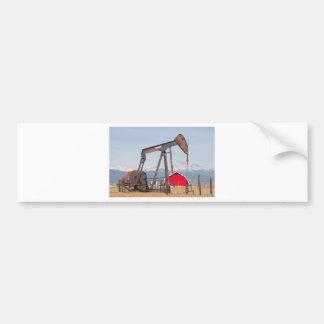 Oil Well Pumpjack Red Barn And Longs Peak Bumper Sticker
