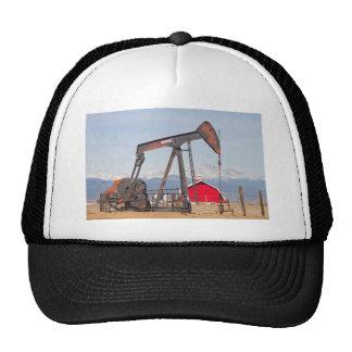 Oil Well Pumpjack Red Barn And Longs Peak Trucker Hat