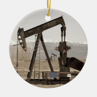 Oil Well Seesaw for the Birds Double-Sided Ceramic Round Christmas Ornament