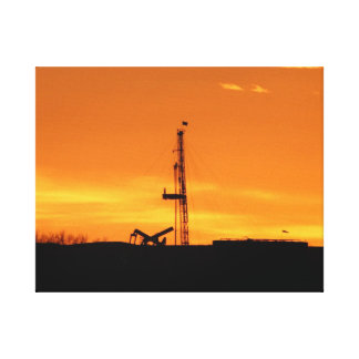 Oil Workover Rig at Sunset Canvas Print