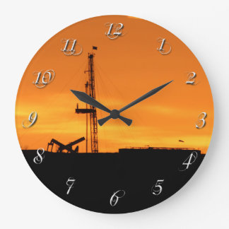 Oil Workover Rig White Whispy Numbers Large Clock