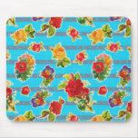 Oilcloth inspirado mexicano - flores de la turques tapetes de ratón