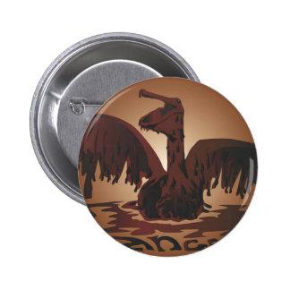 oiled brown pelican- pinback button