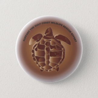 Oiled Kemp's Ridley Sea Turtle Pinback Button