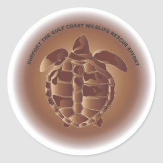 Oiled Kemp's Ridley Sea Turtle Classic Round Sticker