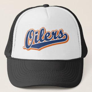 Oilers in Blue and Orange Trucker Hat