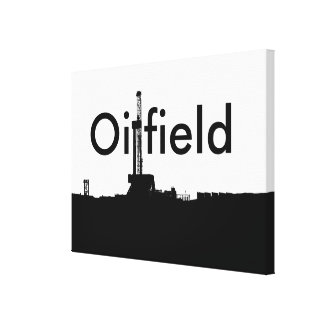 """""""Oilfield"""" Black on White Drilling Rig Silhouette Canvas Print"""
