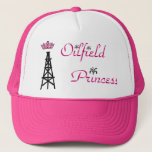 "Oilfield Princess pink trucker hat<br><div class=""desc"">Oilfield wife/princess pink trucker hat with oil derrick and pink tiara with oil spout accents</div>"