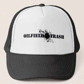 Oilfield Trash Black Stencil Text Oil Smudge Trucker Hat