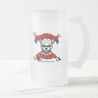 Oilfield Trash Frosted Beer Mug, Skull Design Frosted Glass Beer Mug