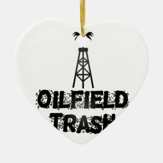 Oilfield Trash Double-Sided Heart Ceramic Christmas Ornament
