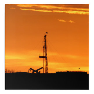 Oilfield Workover Service Rig at Sunset Acrylic Print