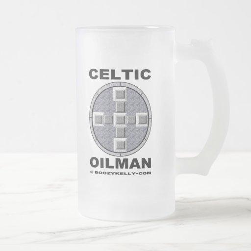 Oilman céltico, regalo del campo petrolífero taza cristal mate