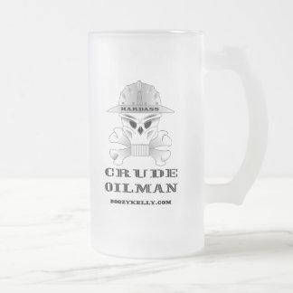 Oilman crudo de Hardass, vidrio de cerveza, aceite Tazas De Café