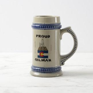 Oilman de Colorado, cerveza Stein Tazas De Café