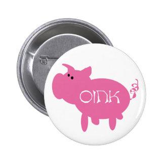 Oink cerdo rosado pin redondo de 2 pulgadas