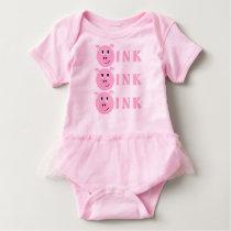 OINK! Cute Little Pink Cartoon Pig Girls Piggy Baby Bodysuit