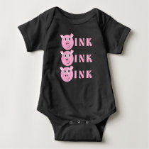 OINK! Cute Little Pink Cartoon Pig Girls Piggy Baby Bodysuit
