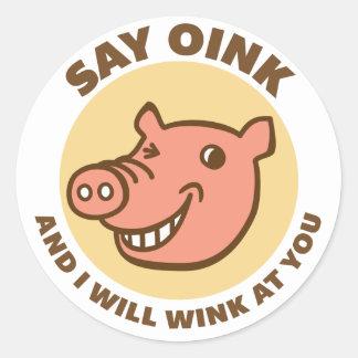 Oink el cerdo etiquetas redondas