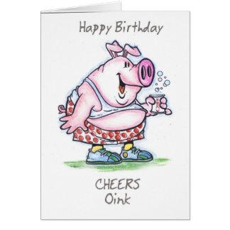 """""""oink"""" feliz cumpleaños felicitación"""
