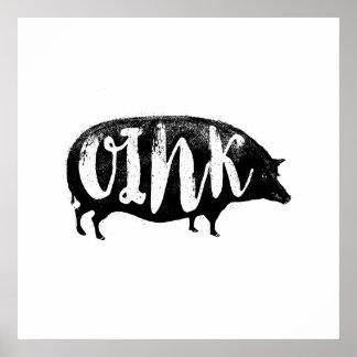 OINK Funny Vintage Pig Poster