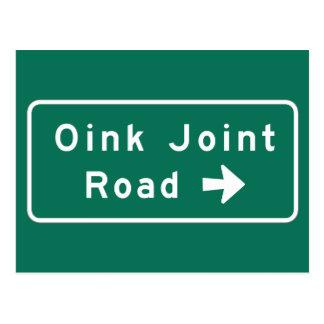 Oink Joint Road, Street Sign, Minnesota, US Postcard