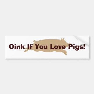 Oink Love Pigs Bumper Sticker (brown) Car Bumper Sticker