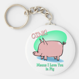 Oink means I Love You Basic Round Button Keychain
