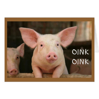 """OINK OINK=""""HAPPY BIRTHDAY"""" IN PIG LATIN CARD"""