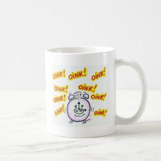 Oink oink, hora para el café taza básica blanca