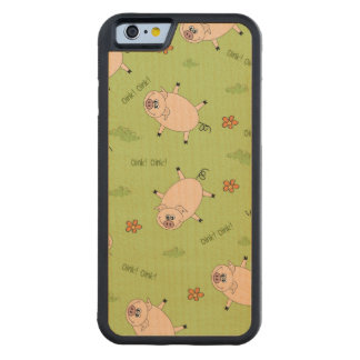 Oink Pig Pattern Carved® Maple iPhone 6 Bumper Case