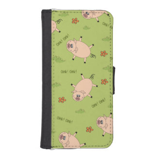 Oink Pig Pattern Wallet Phone Case For iPhone SE/5/5s