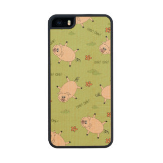 Oink Pig Pattern Wood Phone Case For iPhone SE/5/5s