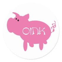 Oink Pink Pig Classic Round Sticker
