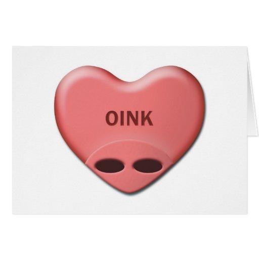 """""""OINK"""" tarjeta de la tarjeta del día de San Valent"""